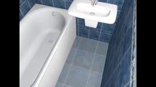 Ванная комната с синей плиткой