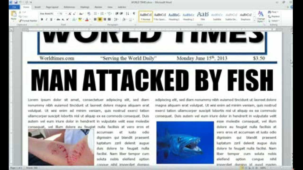 Word 2010 Newspaper Project table - YouTube