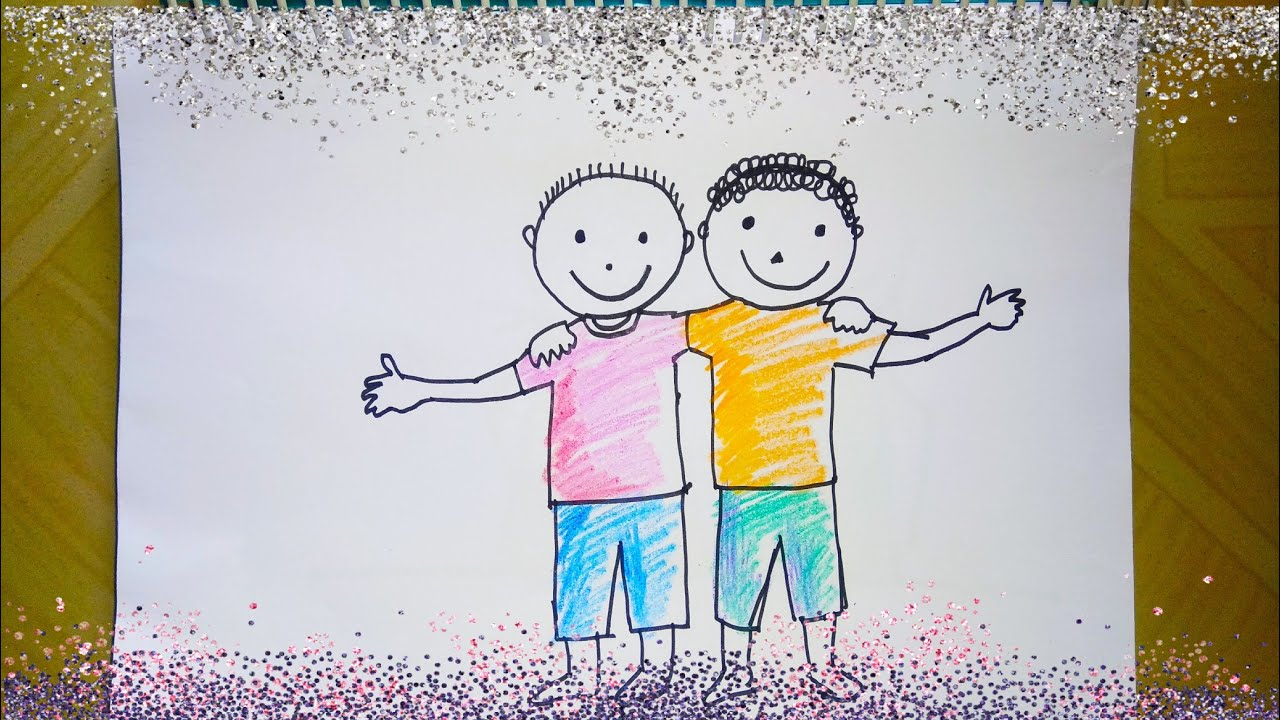 How to draw best friend   Best friend Drawing for kids ...