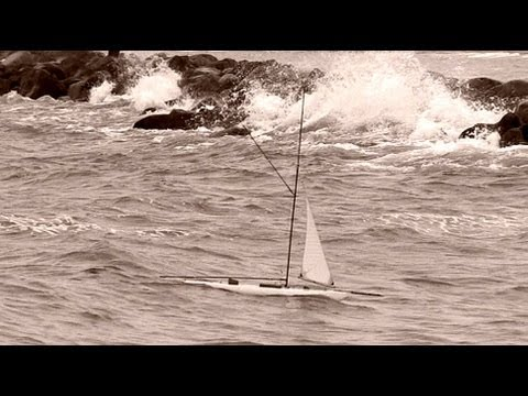 Stormy: Classic model yacht sailing on Baltic Sea