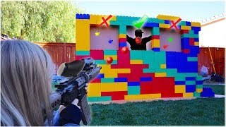 HIT The Person HIDING Behind The LEGO Wall!