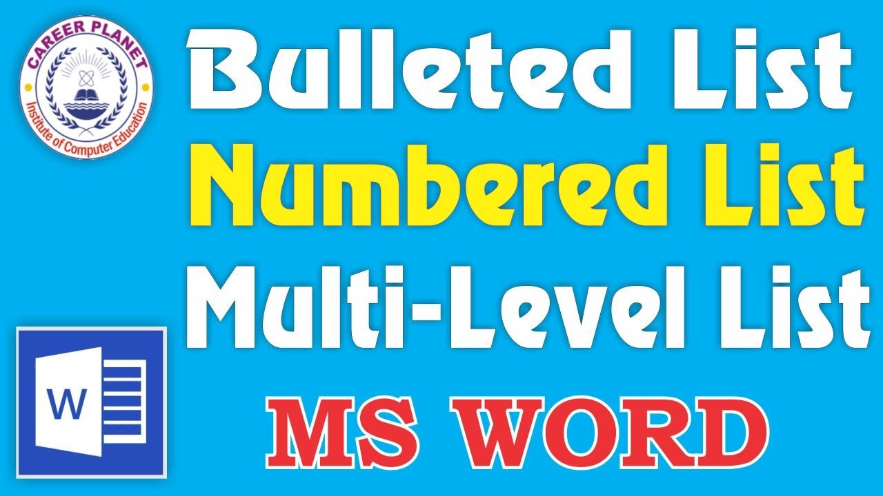 A bulleted, numbered, multi-level list in Word: ways to create
