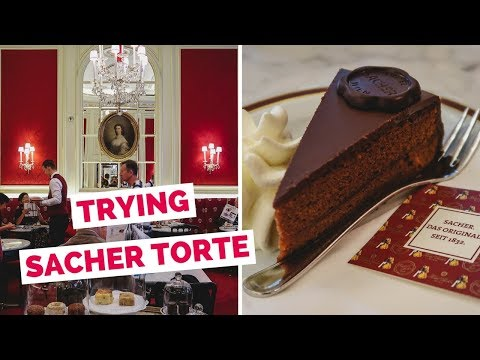 Viennese Food - Eating Sachertorte Cake in Vienna, Austria at Café Sacher Wien