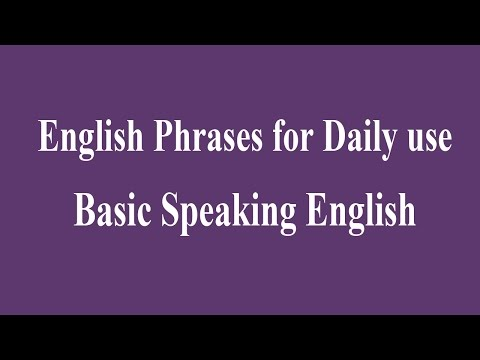 English Phrases for Daily use - Basic Speaking English