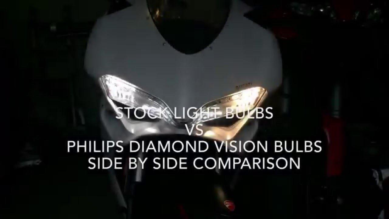 philips diamondvision light bulbs on ducati panigale 959 - youtube