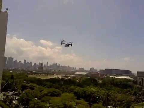 3 MARINE ONE LANDED IN MANILA WITH 3 OSPRHEY CHOPPERS APRIL 2014 10:30 AM