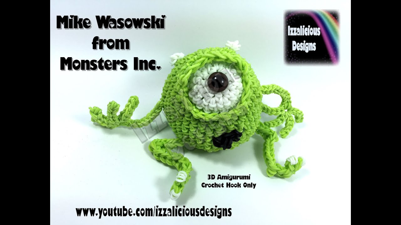 Amigurumi Monsters Inc : Rainbow Loom 3D Mike Wasowski (Monsters Inc) Figure/Doll ...