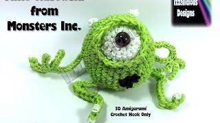 Rainbow Loom 3D Mike Wasowski (Monsters Inc) Figure/Doll Amigurumi/Loomigurumi ` Hook Only/Loom-less