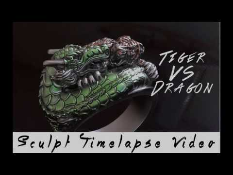Zbrush sculpt timeplase Jewelry Ring Tiger Vs Dragon