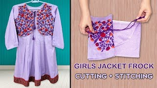 Girls Jacket Style Frock || Cutting And Stitching Step By Step