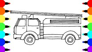 Fire Truck Coloring Pages, colors for kids with vehicles video, coloring video