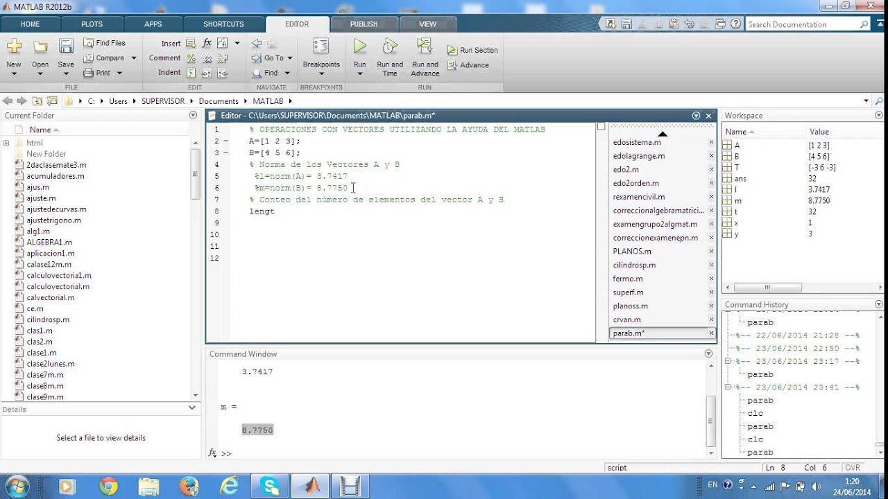 a52ee8adde726 Operaciones básicas con vectores utilizando el Matlab - YouTube