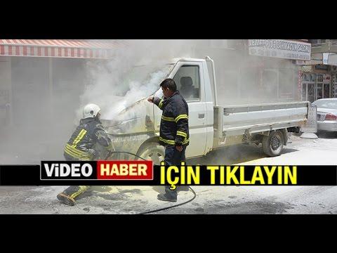 MİLAS'TA KAMYONET ANİDEN ALEV ALDI...
