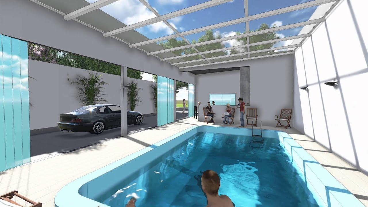 Rea de lazer com piscina coberta conceito arquitetura youtube - Piscina interna casa ...