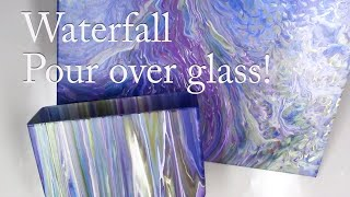 Purple Waterfall Acrylic Pour Painting on Glass and Canvas Same Time!