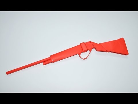 How to make a paper gun - paper rifle - origami -  paper toy