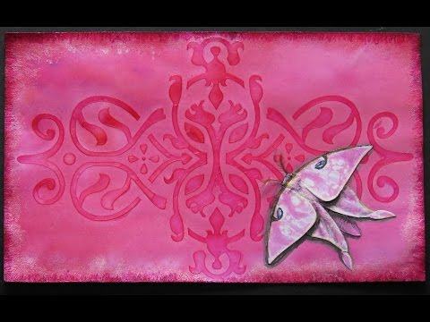 #thinkpinkart how to make American Moon Moth from Swallowtail Stamp Tutorial. My first ICADS.