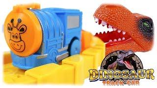 Dinosaur Track Car Playset with Little Blue Motorized Train