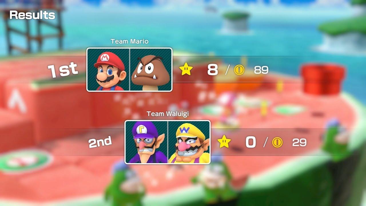 Super Mario Party Partner Party #404 Watermelon Walkabout Mario & Goomba vs Waluigi & Wario