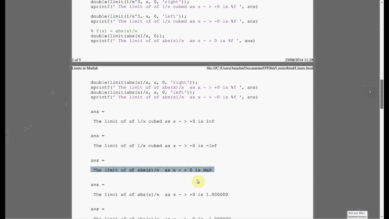 Limits In Matlab Using The Symbolic Math Toolbox Youtube