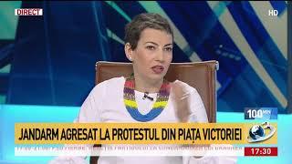Jandarm agresat la protestul din Piața Victoriei
