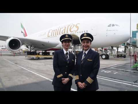 Female pilots fly Emirates A380 for International Women's Da