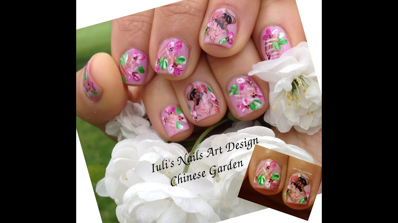 Nail Art Design Live Tutorial Spring Chinese Garden Magnolia Flowers ...