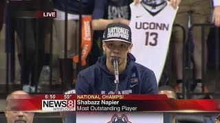 welcome home pep rally in storrs