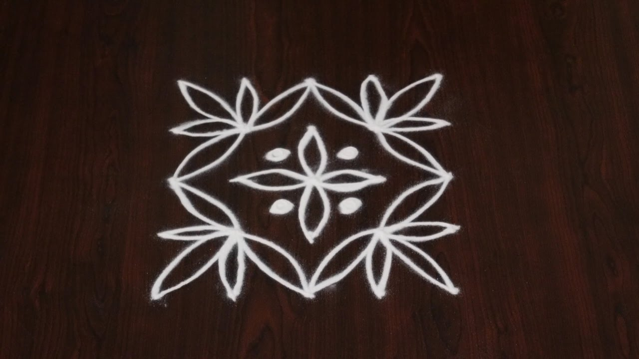 simple kolam with 5 dots simple 5 dots kolam rangoli with dots 5