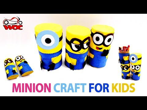 Minion Toilet Paper Roll Craft For Kids - How to Make Minions Boxes - Cardboard Tube Minions
