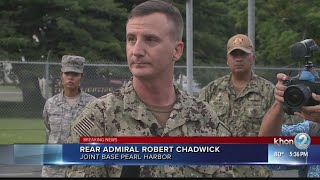 Rear Admiral Robert Chadwick holds press conference about shooting at Pearl Harbor