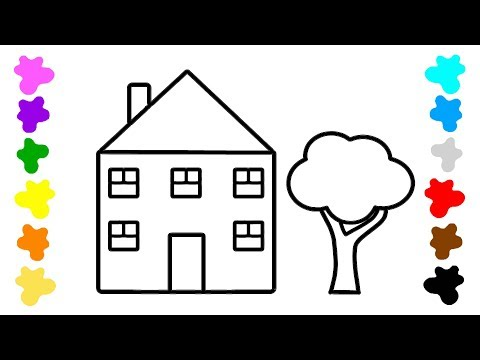 Coloring for Kids with House & Tree - Art Colouring Book for Toddlers