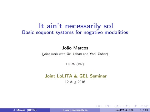 Joao Marcos - It ain't necessarily so: Basic sequent systems for negative modalities (2016)