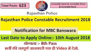 Rajasthan Police Constable Recruitment 2018 Notification for MBC Banswara