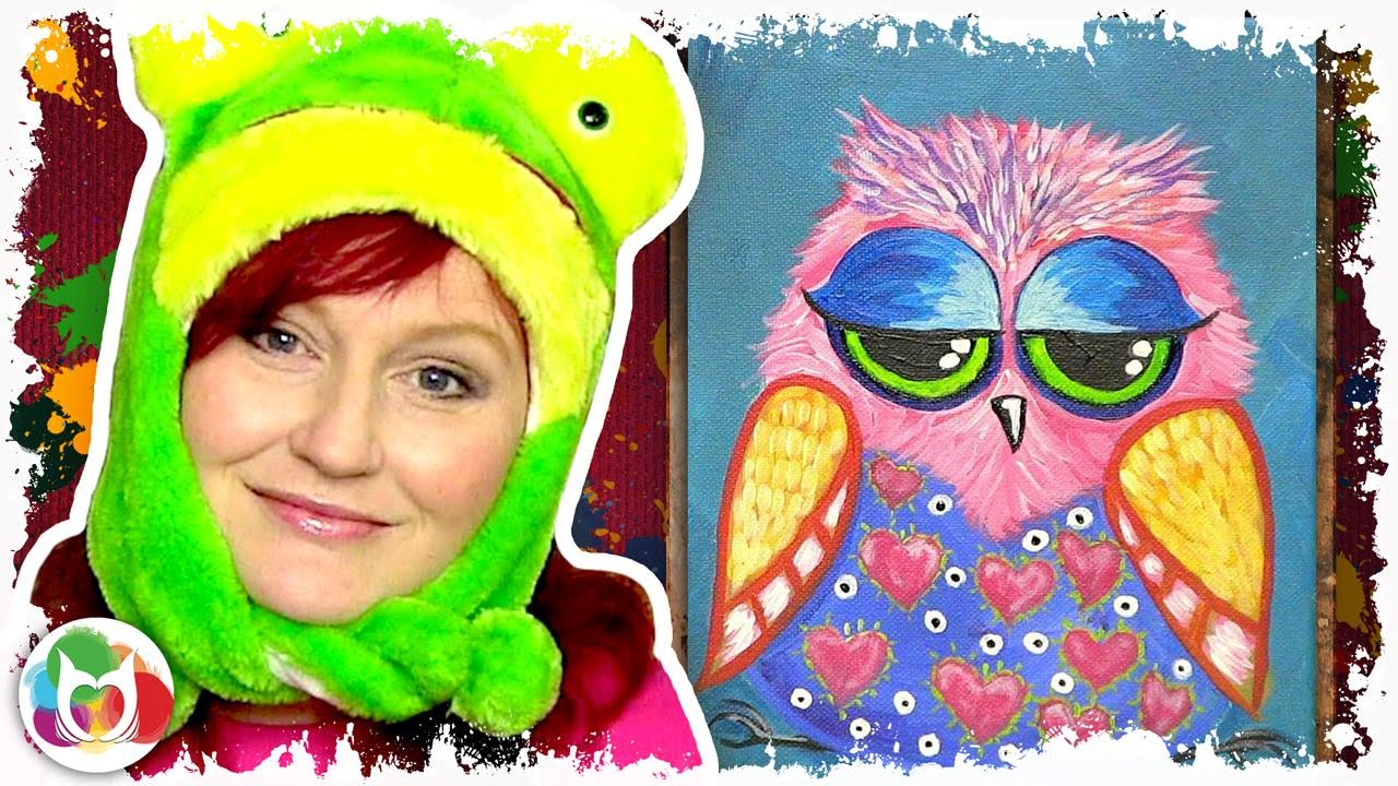 Funny Owl Online Acylic Lesson How To Paint A Little Hoot