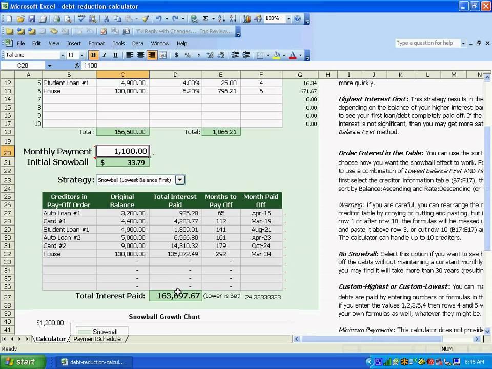 debt reduction calculator youtube