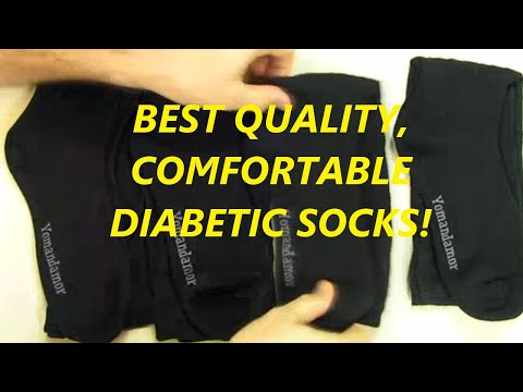 Yomandamor Mens Bamboo Diabetic Crew Socks, 4 Pack Size 10-13