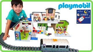 PLAYMOBIL School Gym & Chemistry Toy School Classroom Unboxing & Playmobil Story Pretend Play