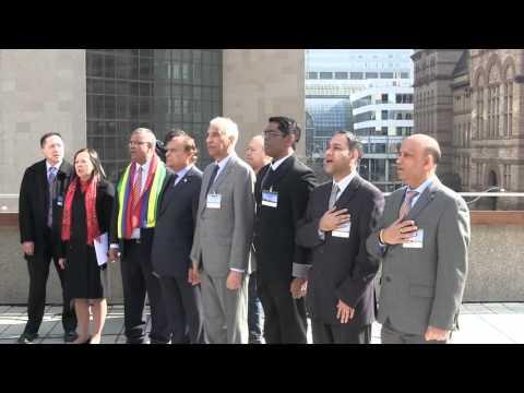 Toronto City Hall, Mauritius National Day, Flag Raising Ceremony March 12, 2016.