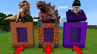 DO NOT CHOOSE THE WRONG PORTAL in Minecraft PE (T Rex, Godzilla & Mutant Witch) | MCPE Journalist