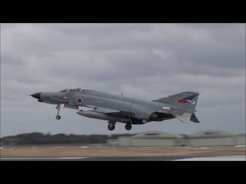超迫力ウエストランウエイタッチダウン 第501飛行隊 RF 4 第302飛行隊・F 4 Rwy03L Landing 百里基地 nrthhh