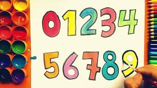 How to Draw and Color Numbers   Learn Numbers and Colors   Drawings for Kids
