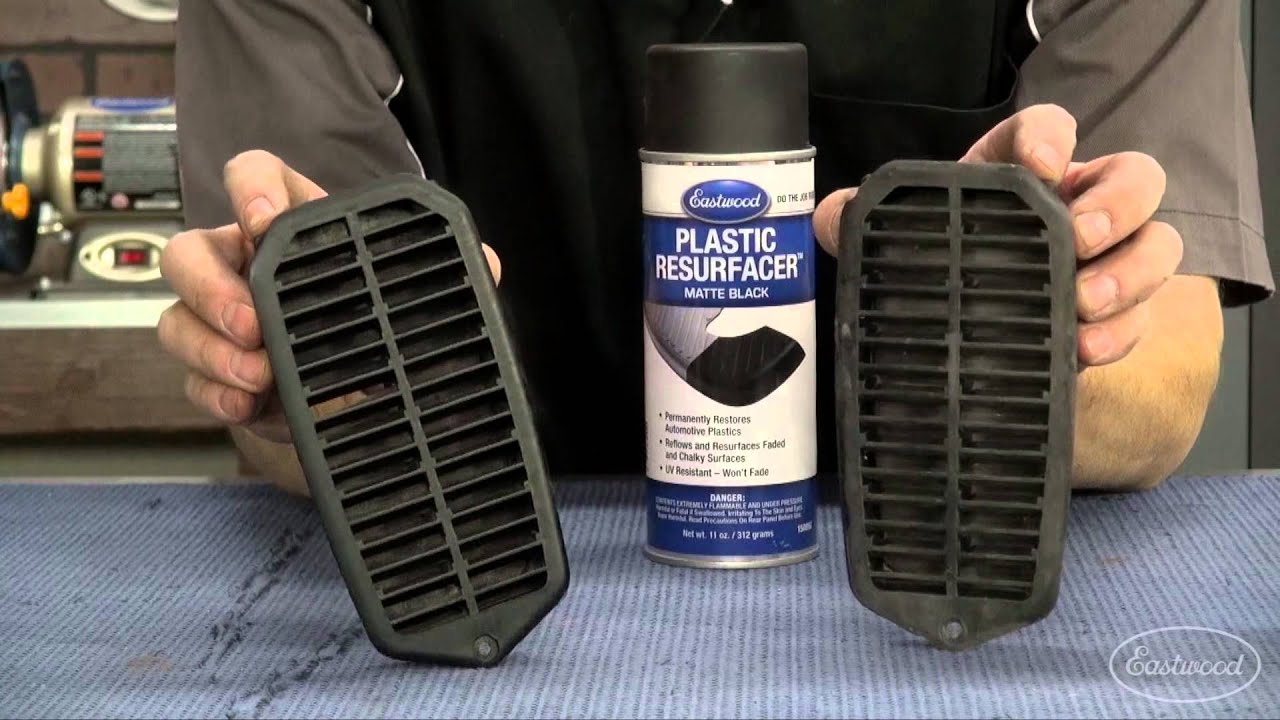 How to restore plastic repair faded plastic trim with plastic resurfacer from eastwood youtube Black interior car trim restorer
