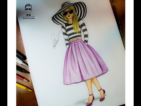 155aa5ae0  تعليم الرسم للملابس والازياء how to draw design and fashion - YouTube