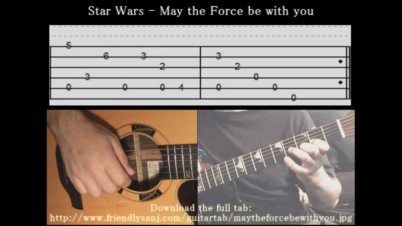 Guitar Tutorial 1 - Star Wars - May The Force Be With You - Full Tab - YouTube