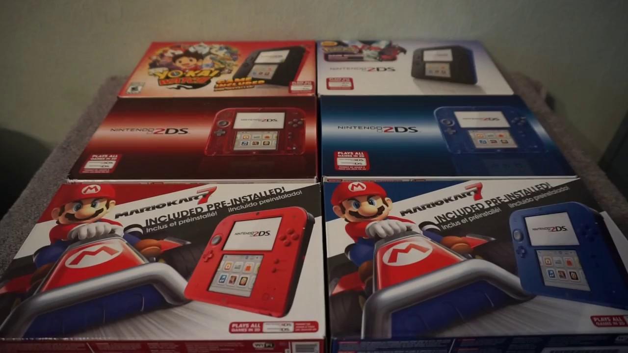 unboxing 2 nintendo 2ds red and blue mario kart bundle comparison
