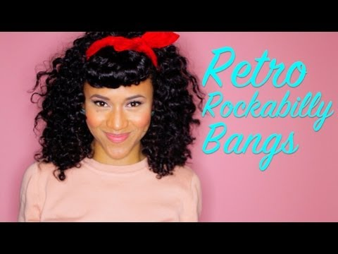 Retro Rockabilly Pin Up Look w Faux Bangs 4 Curly Hair  YouTube