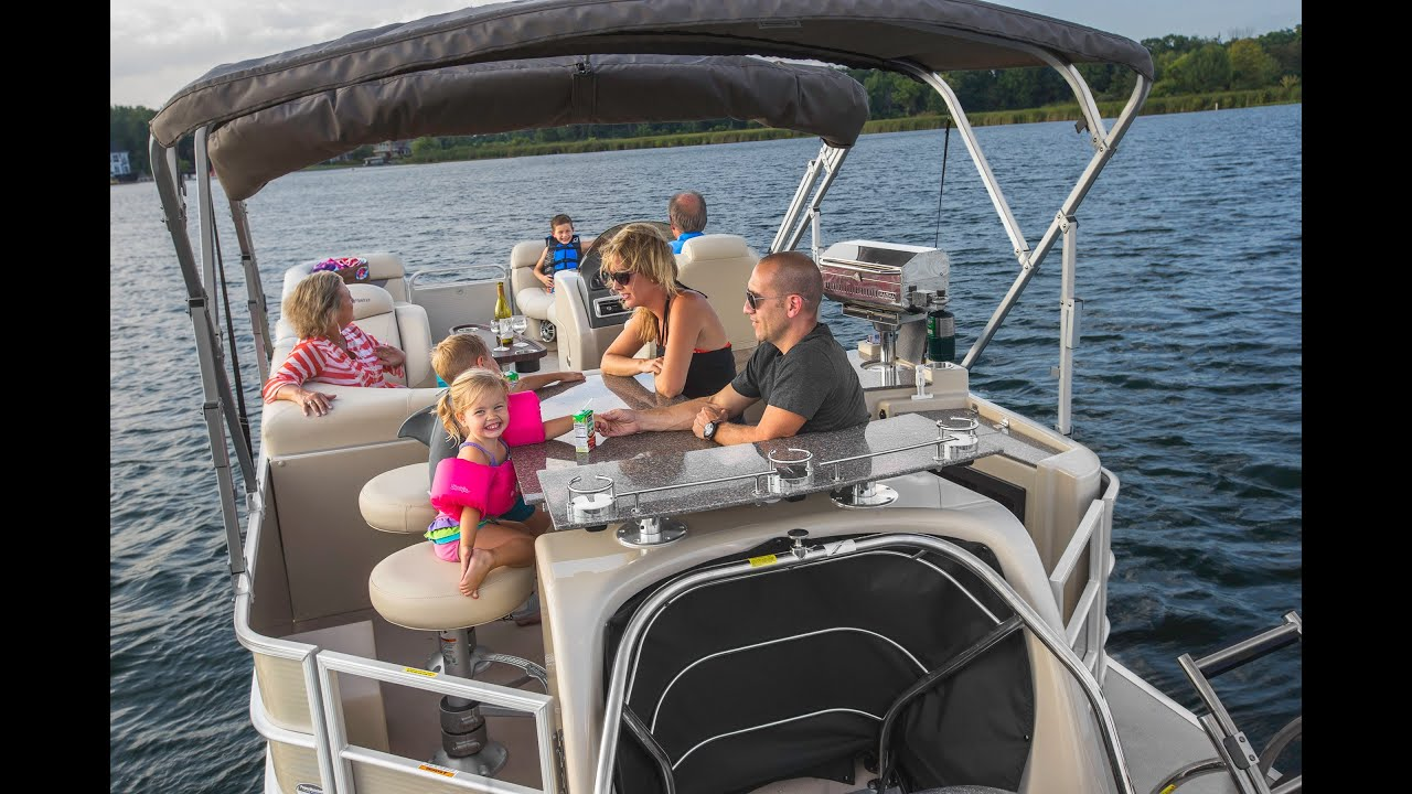 godfrey pontoon boats aqua patio 240 cb center bar rough salt water pontoon youtube - Aqua Patio