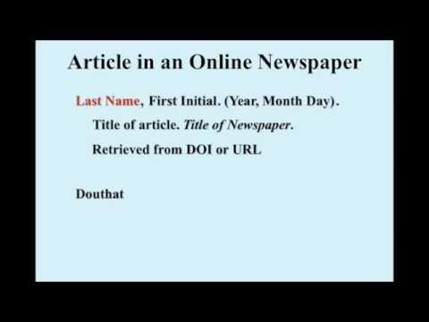 hqdefault Apa Format Newspaper Article Example on apa reference page example website, apa format for website article, apa format journal article, apa reference journal example, quote how you do a newspaper article,