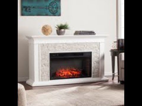 FE9021: Canyon Heights Faux Stacked Stone Electric Fireplace - White Assembly Video